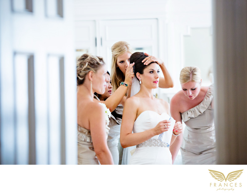 Anxious bride bridesmaids Denver wedding photographer