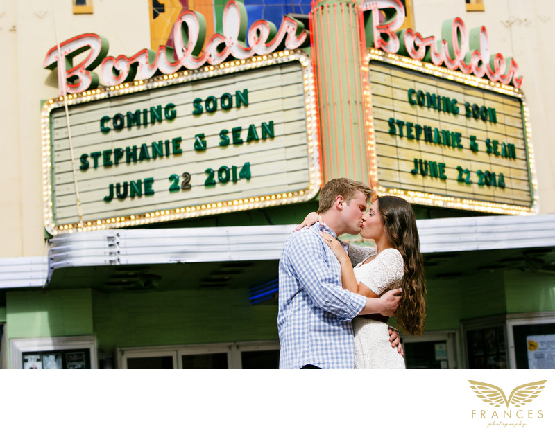 Theater movie night Boulder engagement photographer