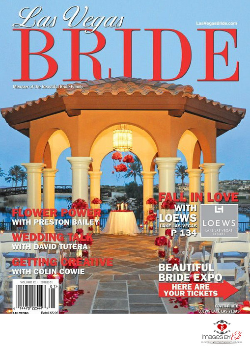 Las Vegas bride Magazine cover at Westin Lake Las Vegas Resort Andalusian Gardens gazebo, image taken by Images by EDI, Las Vegas wedding Photographer