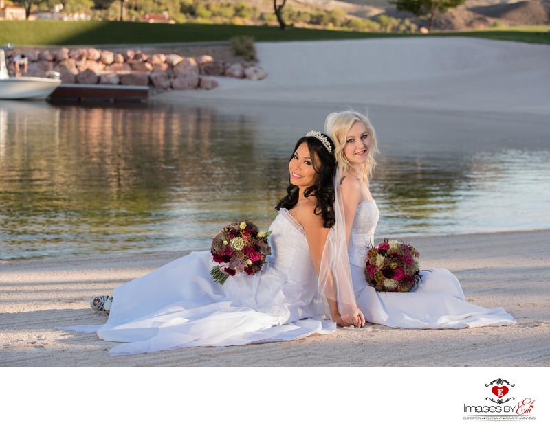 Same sex wedding couple at Reflection Bay Lake Las Vegas