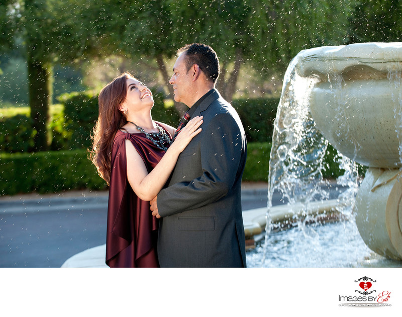 Lake Las Vegas Engagement photos by the fountain