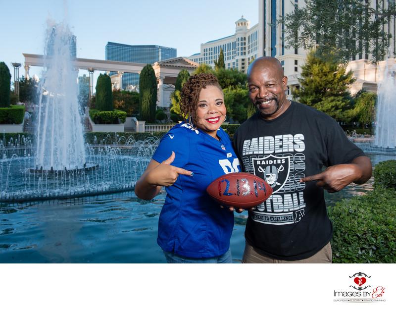 Football themed Las Vegas Engagement Session