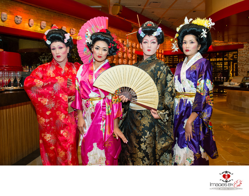 Wynn Las Vegas corporate event photography with geishas