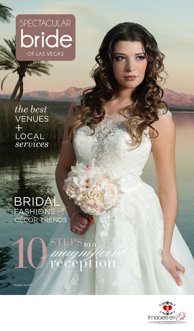 Spectacular bride of Las Vegas Magazine cover at Westin Lake Las Vegas Resort sunset by the lake, image taken by Images by EDI, Las Vegas wedding Photographer