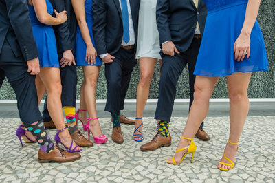 Fun wedding socks with matching colorful high heels