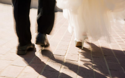 Bride and Groom Walking Fairmont San Francisco