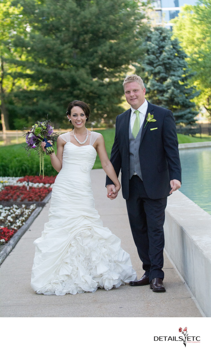 Bride and Groom Pictures in Front of the Ford Museum