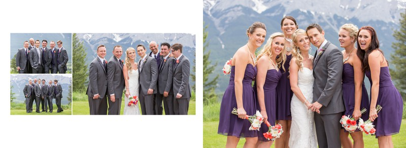 Bride + Groom after Ceremony with Bridal Party Canmore