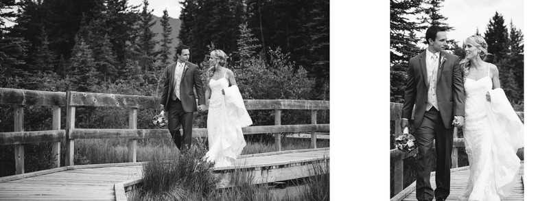 Bride + Groom Walking On A Wooden Bridge Canmore