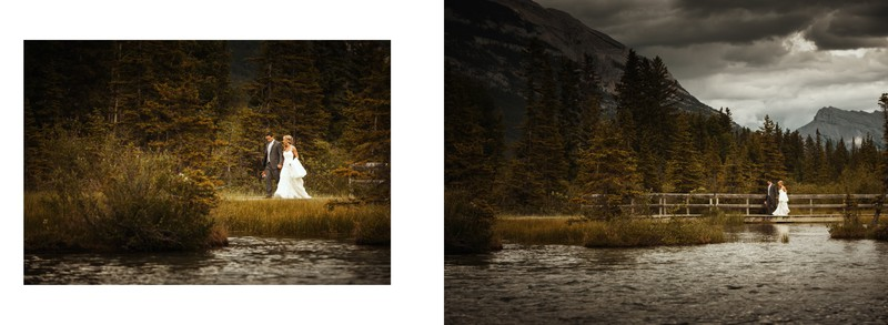 Bride + Groom Walking To Reception Venue In Canmore