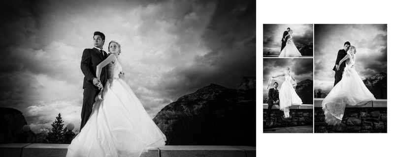 Bride + Groom Dramatic Light At The Banff Springs Hotel