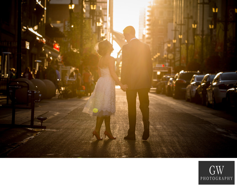 sunset wedding photos in Downtown Calgary Stephen Av