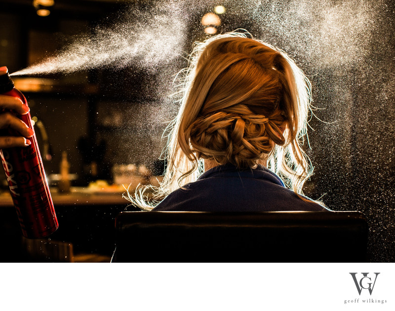 Hair Spraying During Hair and Makeup Canmore Photos