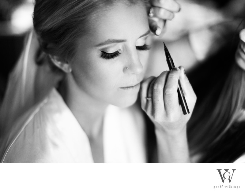 Makeup Behing Applied to Bride Canmore Wedding Photos
