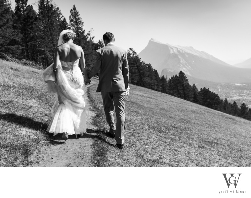 Banff Wedding Photographs Bride + Groom Walking