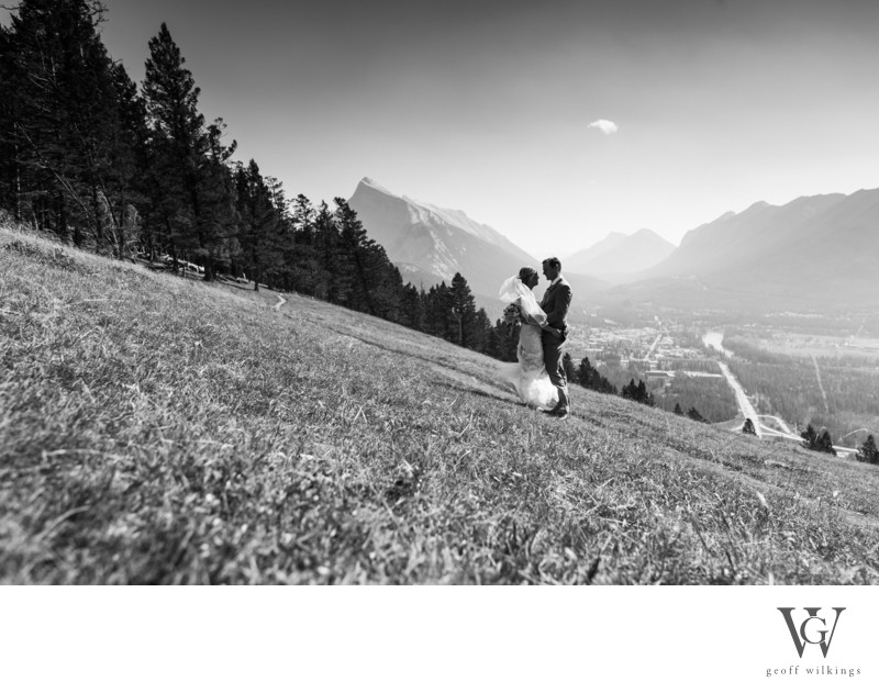 Looking Over Banff National Park Wedding Photographers