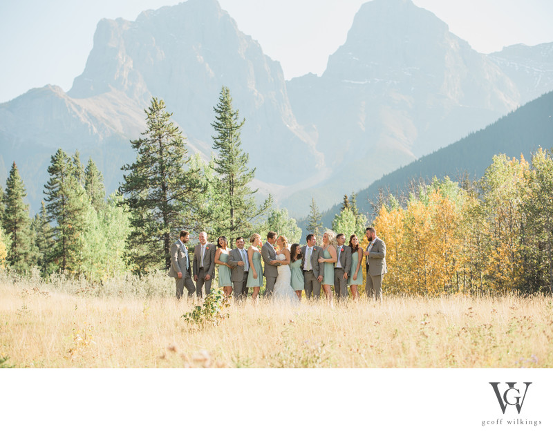 Bridal Party Group Photo Canmore Wedding Photographers