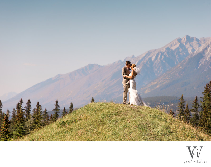 Bride + Groom Kissing Canmore The Canadian Rockies