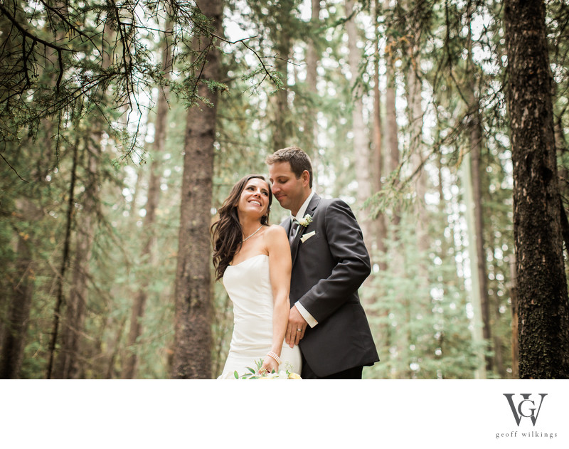 Bride and Groom Banff Wedding Photographs in the Woods