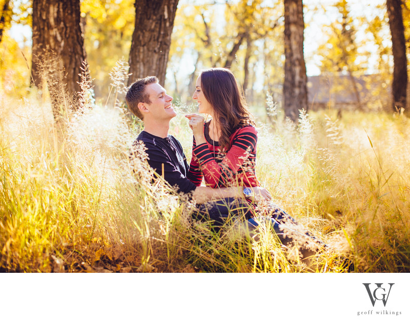 Engagement Shoot Playing Fall Colors Calgary Laugher