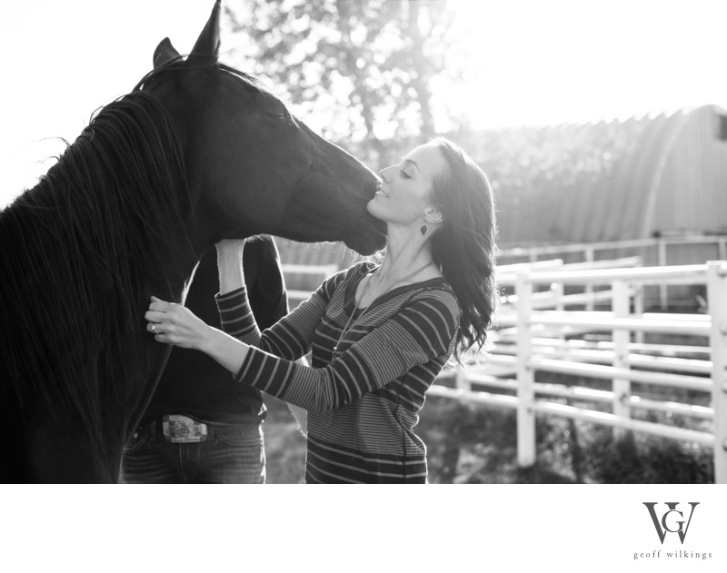 Cowgirls With Horse and Horses Ranch Engagement Photos