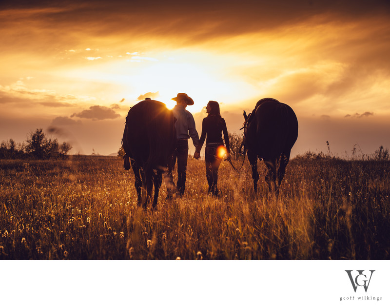 Cowboy + Cowgirls Walking Into the Sunset