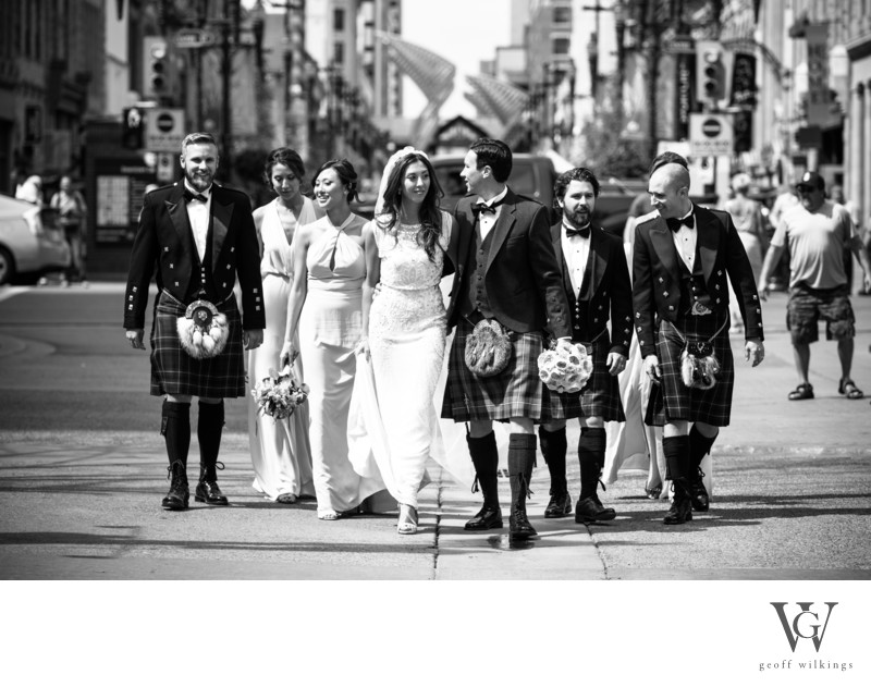 Bridal Party Walking Down Stephen Avenue Calgary