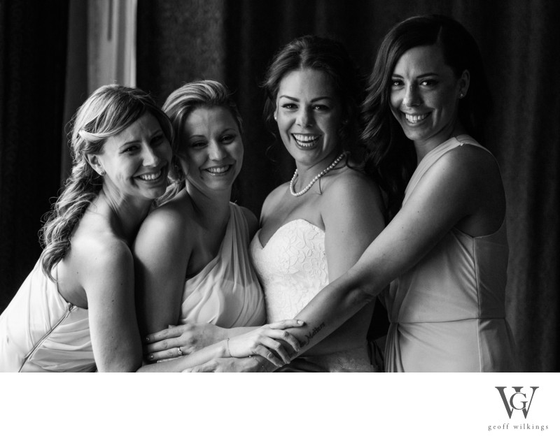 Bridal Party Portrait Fun Photo - The Westin Hotel Calgary