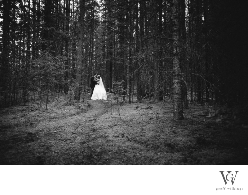 Bride + Groom In The Wood Canmore Wedding Photographer
