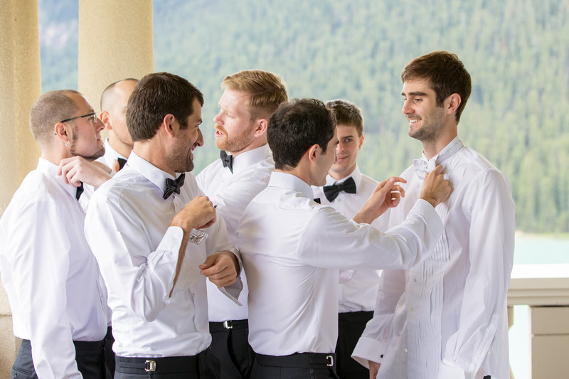 Groomsmen Getting Ready Fairmont Chateau Lake Louise