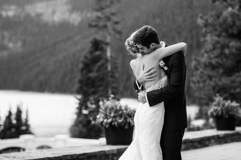 Groom Hugging Bride First Look Fairmont Chateau Lake Louise