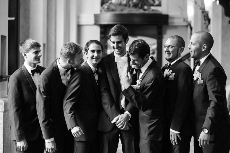 Groomsmen Laughing Together Chateau Lake Louise