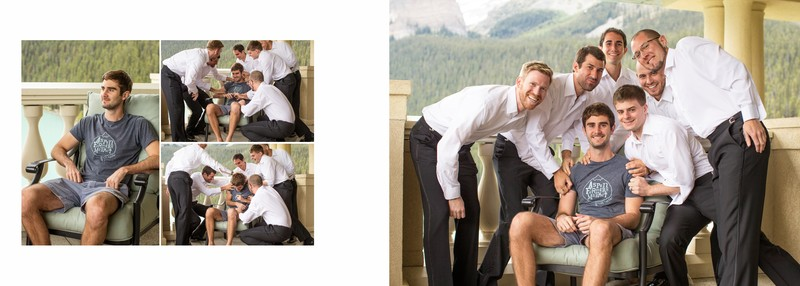 Groom Getting Ready Chateau Lake Louise Fun Laugher