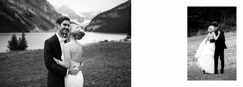 Groom Laughing with Bride Chateau Lake Louise Photos