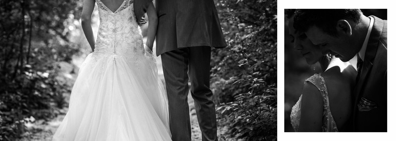 Bride + Groom Walking In Forest Calgary Wedding Photographer