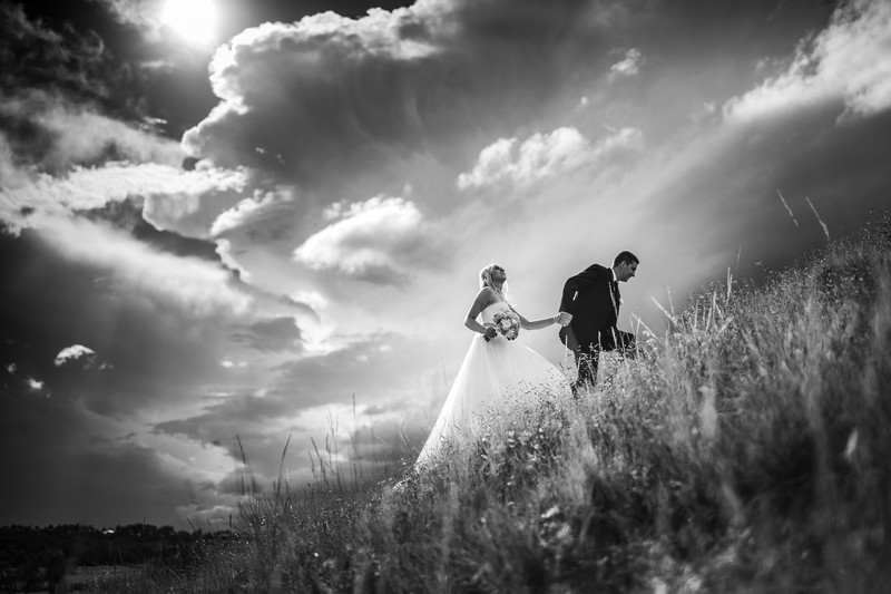 Calgary Wedding Photographers Hill Walking B&W Photo