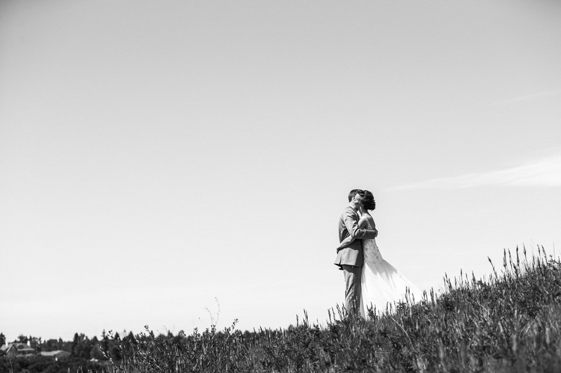 Bride and Groom On a Hill By Calgary Golf Country Club