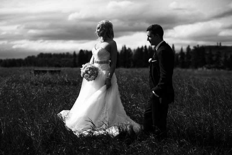 Calgary Wedding Photographers B&W Soft Open Field Photo