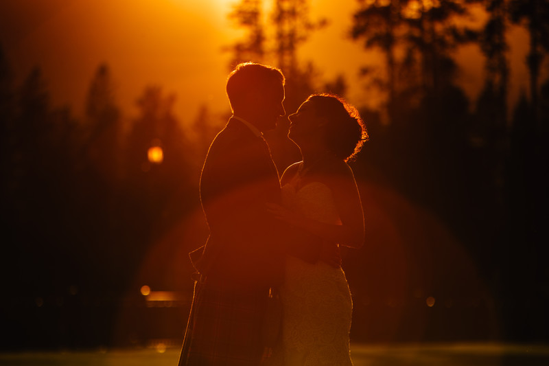 Silvertip Wedding Photos Sunset With Bride & Groom