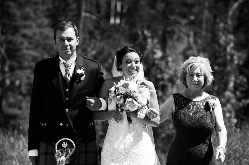 Bride + Mom + Brother Walking Silvertip Wedding Photos