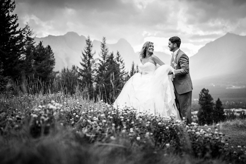 Canmore Silvertip Wedding Photos Bride + Groom Walking
