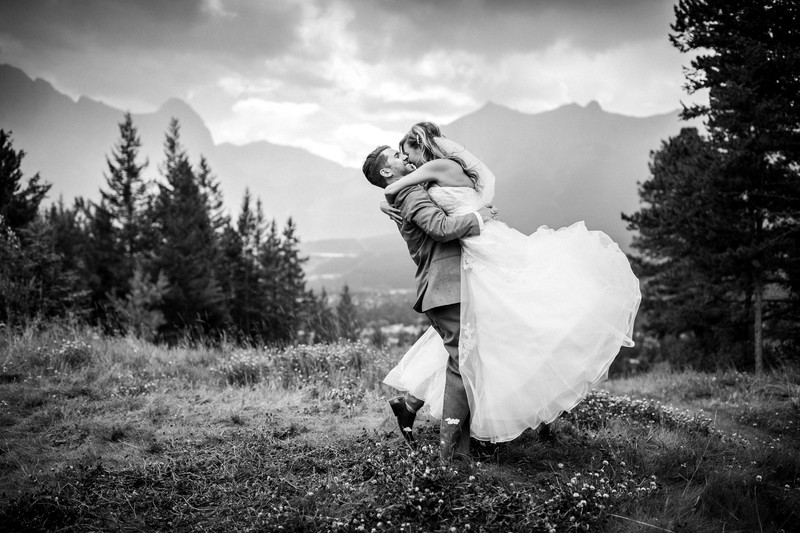 Canmore Silvertip Wedding Photos Bride In The Air