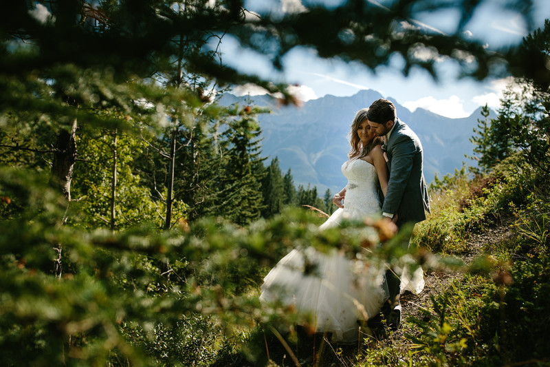 Bride + Groom Located Within The Canadian Rockies Canmore