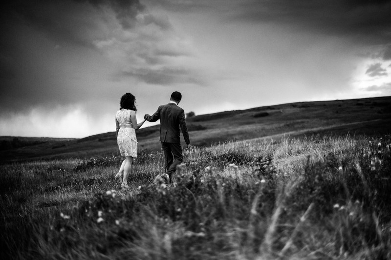 Calgary Elopement Photographers Bride + Groom Walking
