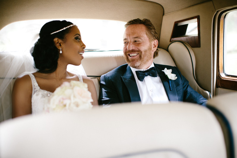 Bentley Inside Photographs Bride + Groom Laughing