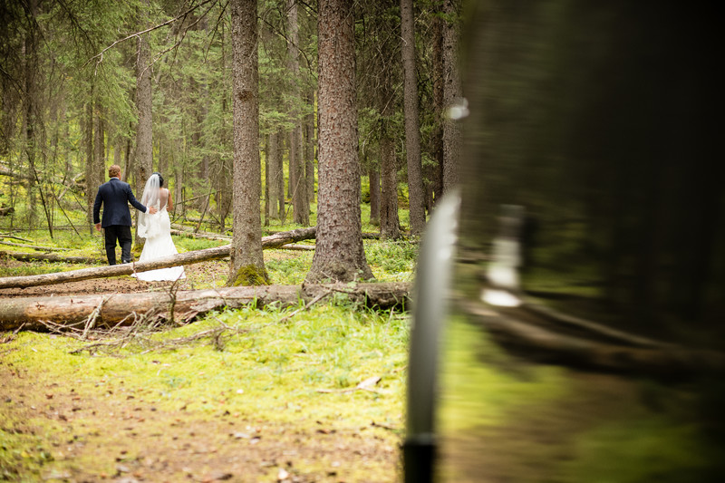 Bride + Groom Walking Into Woods Banff National Park