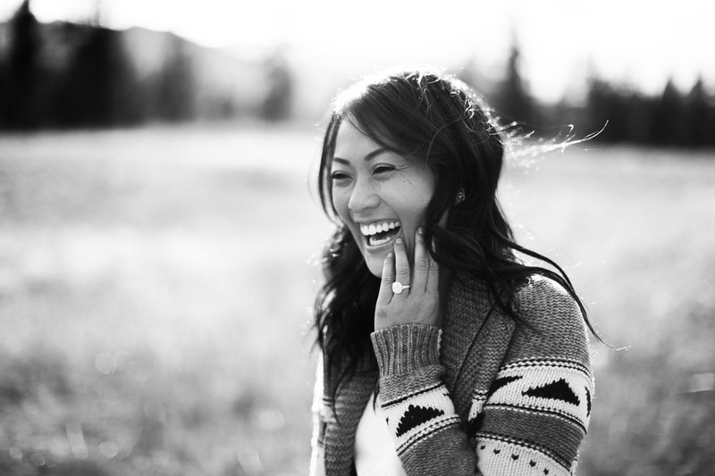 Lady Laughing During Engagement Photography Shoot Photo