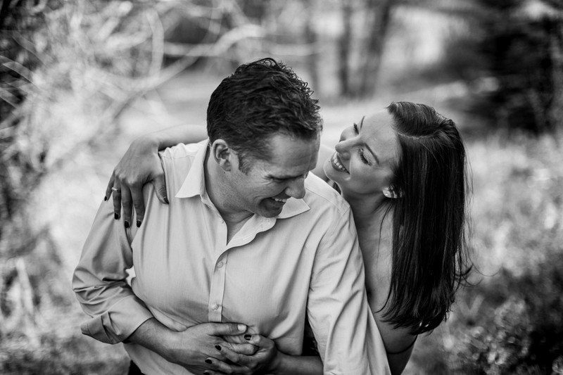 Fiancee + Fiance Laughing Together Black & White Photos