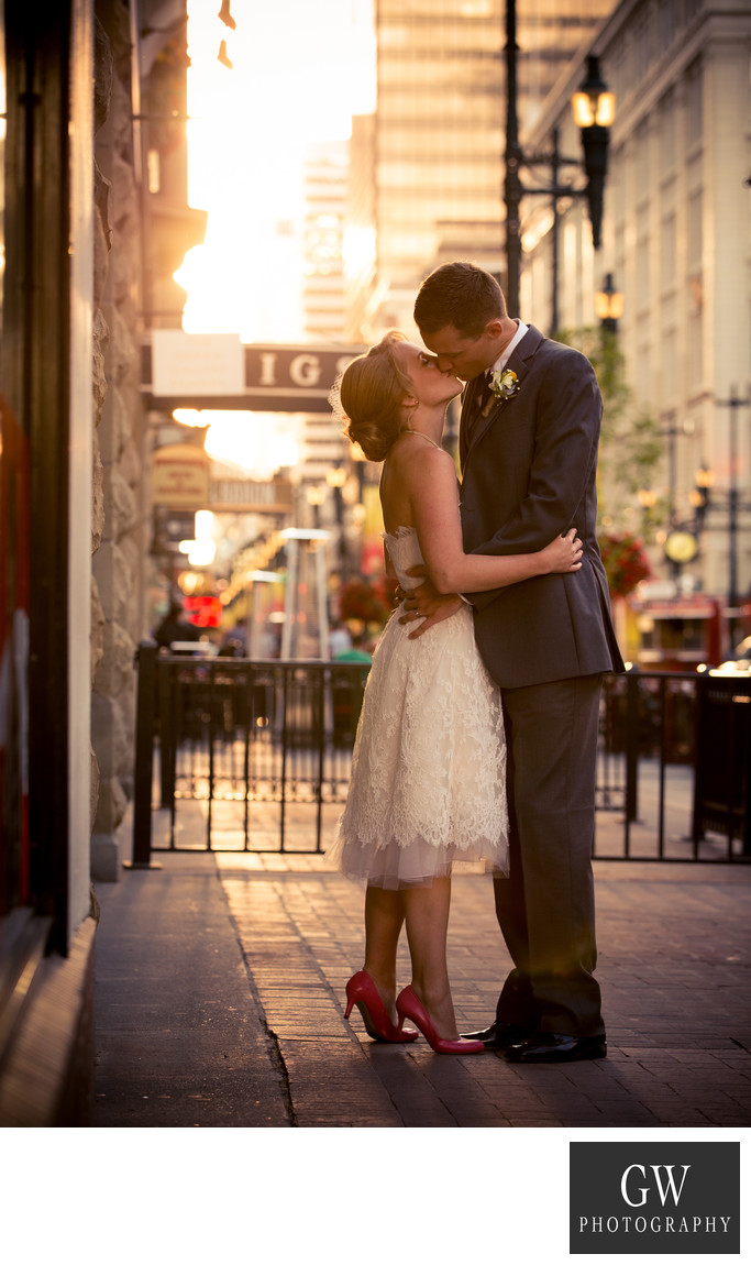 Calgary sunset wedding photos in Downtown Stephen Av