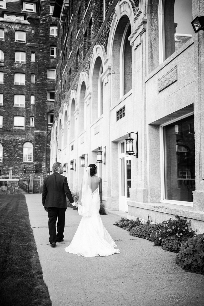 Banff Wedding Photographers Bride + Groom Walking BSH